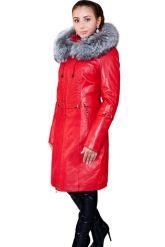 Оригинальное кожаное пальто с мехом чернобурки. Фото 5.