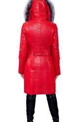 Оригинальное кожаное пальто с мехом чернобурки. Фото 6.
