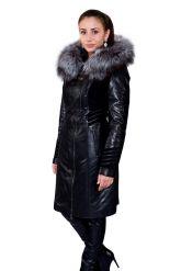 Комбинированное кожаное пальто с мехом чернобурки. Фото 6.
