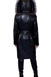 Комбинированное кожаное пальто с мехом чернобурки. Фото 7.