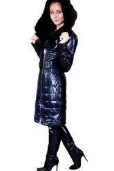 Стильное кожаное пальто с мехом рекс. Фото 3.