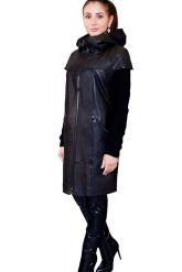 Демисезонное кожаное пальто с капюшоном. Фото 6.