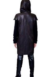 Демисезонное кожаное пальто с капюшоном. Фото 7.