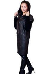 Демисезонное кожаное пальто с капюшоном. Фото 8.