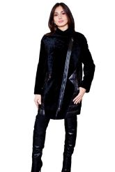 Кожаный пуховик, комбинированный с мехом астраган черного чвета. Фото 1.