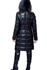 Черный кожаный пуховик, комбинированный с мехом астраган. Фото 3.