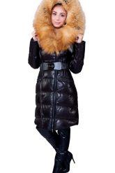 Оригинальный кожаный пуховик с мехом огненной лисы. Фото 3.