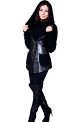 Куртка из кожи, комбинированной с трикотажем. Фото 6.