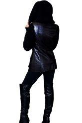 Куртка из кожи, комбинированной с трикотажем. Фото 7.