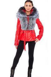 Зимняя меховая куртка трансформер красного цвета. Фото 7.