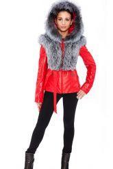 Зимняя меховая куртка трансформер красного цвета. Фото 8.