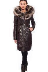 Кожаное пальто коричневого цвета с мехом чернобурки. Фото 1.
