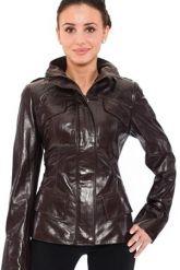 Стильная кожаная куртка коричневого цвета. Фото 3.