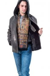 Мужская зимняя кожаная куртка черного цвета. Фото 4.