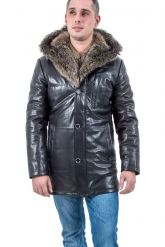 Мужская зимняя кожаная куртка. Фото 1.