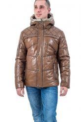Мужской кожаный пуховик коричневого цвета. Фото 2.