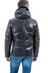 Мужской кожаный пуховик черного цвета. Фото 2.