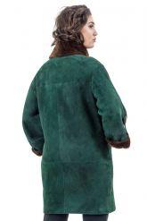 Женская дубленка зеленого цвета. Фото 2.