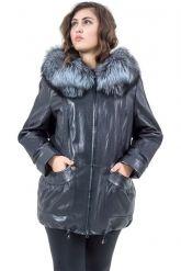 Удлиненная кожаная куртка с мехом чернобурки. Фото 6.