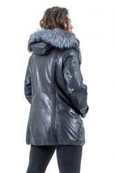 Удлиненная кожаная куртка с мехом чернобурки. Фото 7.