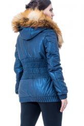 Утепленная кожаная куртка синего цвета. Фото 2.