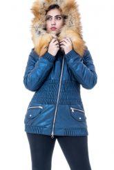 Утепленная кожаная куртка синего цвета. Фото 3.