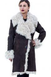 Дубленка из натуральной овчины на пуговицах с мехом «тиградо». Фото 1.