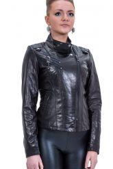 Черная кожаная куртка-косуха. Фото 3.