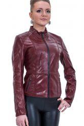 Кожаная куртка со стрейч бордового цвета. Фото 1.