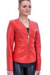Кожаная куртка красного цвета. Фото 1.