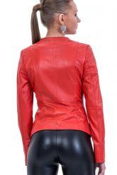 Кожаная куртка красного цвета. Фото 2.