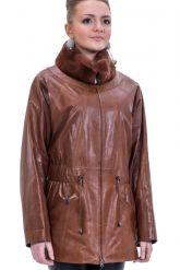 Терракотовая женская кожаная куртка. Фото 1.