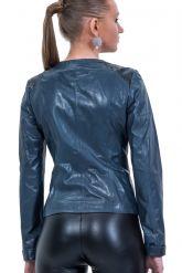 Весенняя кожаная куртка синего цвета. Фото 2.