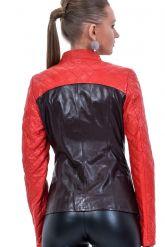 Оригинальная кожаная куртка красно-бордового цвета. Фото 2.