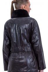 Женская кожаная куртка шоколадного цвета. Фото 2.