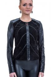 Комбинированная кожаная куртка. Фото 1.