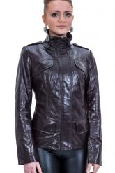 Приталенная кожаная куртка. Фото 1.