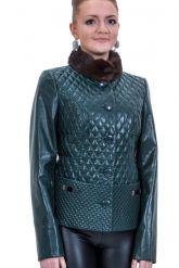 Кожаный пиджак с мехом норки. Фото 1.