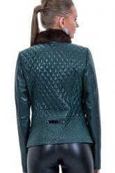 Кожаный пиджак с мехом норки. Фото 2.