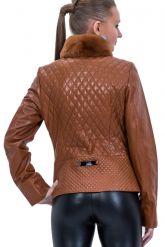 Стеганый кожаный пиджак с мехом. Фото 2.