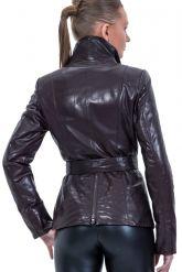 Кожаная куртка косуха коричневого цвета. Фото 2.