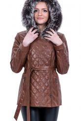 Кожаная куртка с капюшоном и мехом чернобурки. Фото 2.