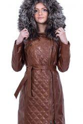 Рыжее кожаное пальто с капюшоном и мехом чернобурки. Фото 6.
