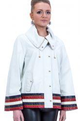 Весенняя кожаная куртка белого цвета. Фото 1.