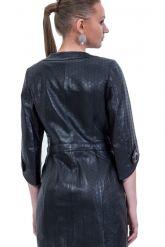Черный кожаный плащ перфорированный. Фото 2.