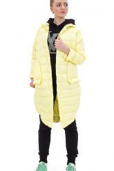 Молодежный облегченный пуховик ярко-желтого цвета. Фото 1.