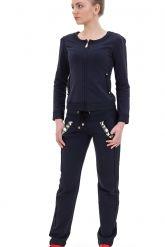 Стильный спортивный костюм со стразами темно-синего цвета. Фото 1.