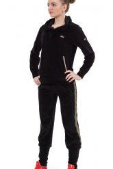Велюровый спортивный костюм черного цвета с капюшоном. Фото 1.