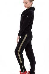 Велюровый спортивный костюм черного цвета с капюшоном. Фото 2.