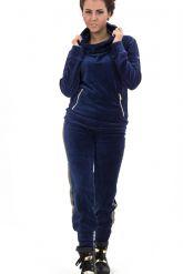 Велюровый спортивный костюм темно-синего цвета с капюшоном. Фото 1.